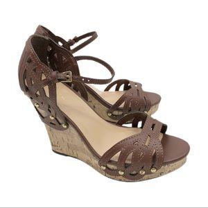 Sbicca Kutout Wedge Sandals Studded Platform Brown